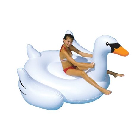 Swimline Giant Swan 75-in Inflatable Ride-On Pool Toy - Slimer Inflatable