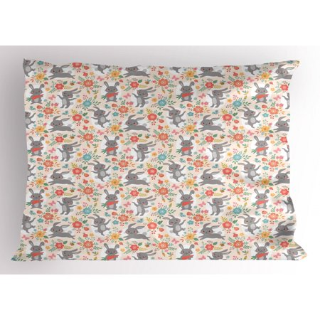 Tasty Puff Drops (Spring Pillow Sham Powder Puff Tailed Bunnies Jumping and Eating Tasty Carrots Around Flower Bouquets, Decorative Standard King Size Printed Pillowcase, 36 X 20 Inches, Multicolor, by)