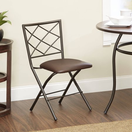 Diamond X-Back Folding Dining Chair with Upholstered Seat, Espresso (Espresso Pvc Seat)