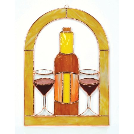 Gift Essentials Wine Glasses and Bottle Cathedral Window Panel