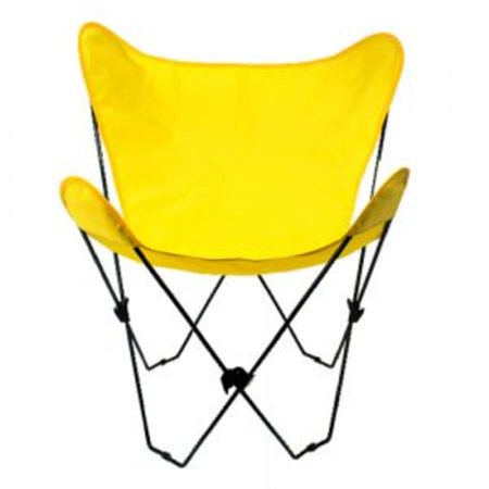 35†Retro Style Outdoor Patio Butterfly Chair with Yellow Cotton Duck Fabric Cover