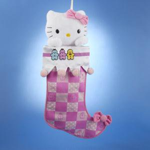 Hello Kitty® Pink Plush Head 19 Inch Checkered Pattern Christmas Stocking