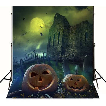 MOHome Polyster Halloween Party Setting 5x7ft Pumpkin Lighting Castle Photography Background