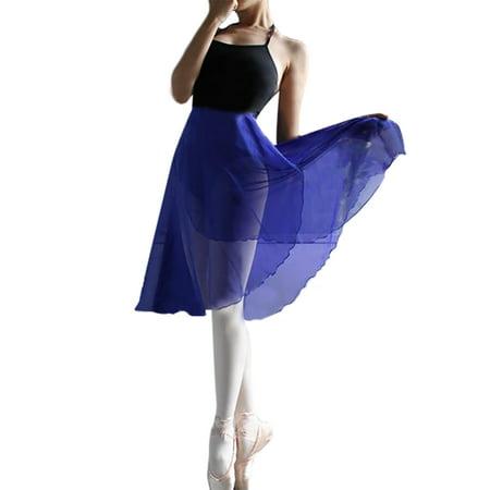 GOGO TEAM Adult Sheer Wrap Skirt Ballet Skirt Ballet Dance Dancewear-Royal Blue-M ()