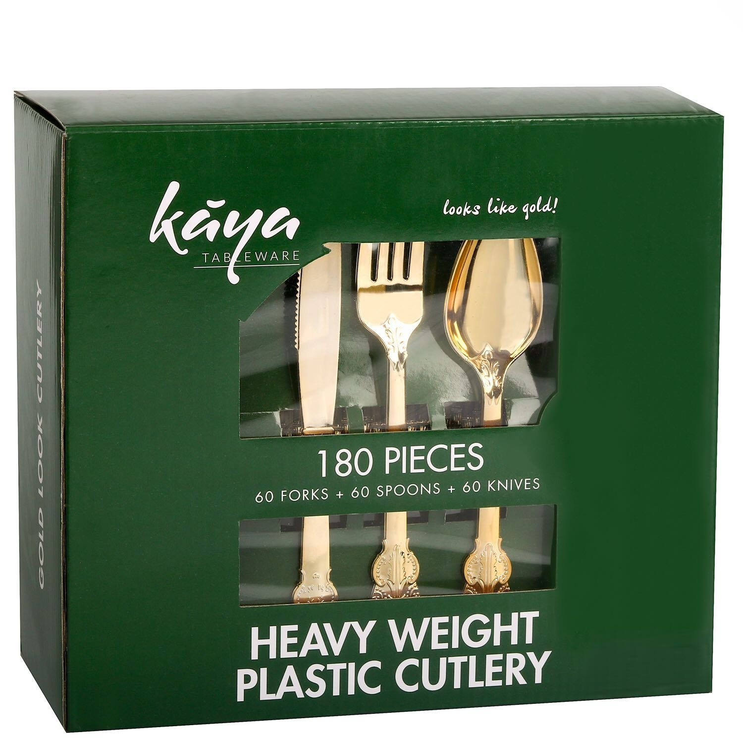 Kaya Collection Disposable Plastic Gold Silverware Cutlery, Shiny Metallic Flatware 60 Forks, 60 Knives and 60... by The Kaya Collection