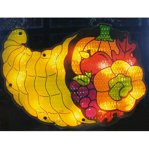 "16"" Lighted Thanksgiving Cornucopia Window Silhouette Decoration"
