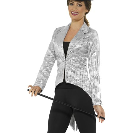 Adult's Womens Silver Sequin Magician Showrunner Tailcoat Jacket - Tailcoat Costume