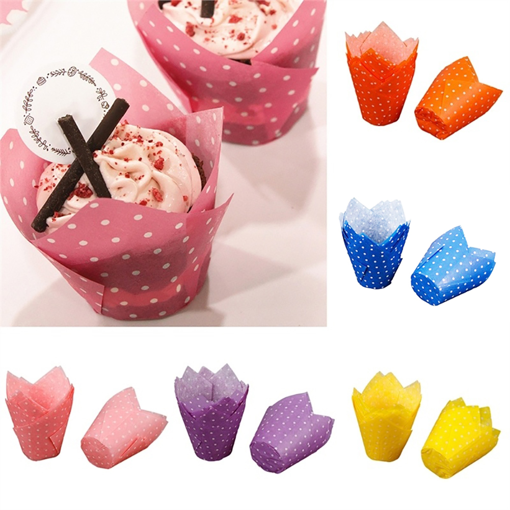 Heepo 50Pcs Dots High Temperature Resistant Cake Paper Cup Tulip Muffin Case Liners