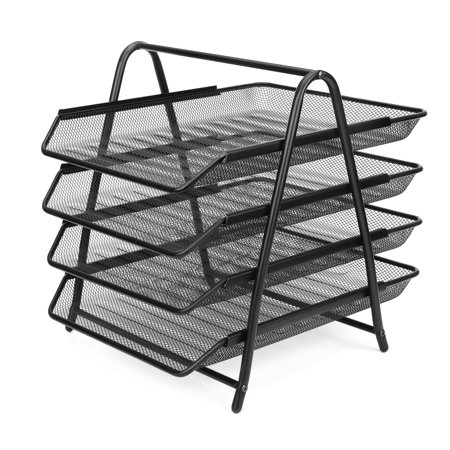 Desk Document File Organizer Tray Desktop Tabletop Paper Letter Holder Stand - Metal Mesh 4 Tier Magazine Sorter Rack Office Supplies & Accessories (Black)