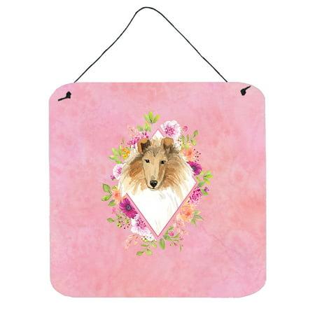 Collie Pink Flowers Wall or Door Hanging Prints