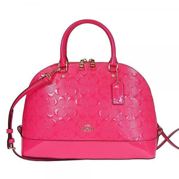 Coach Signature Debossed Patent Leather Dome Satchel Bag ...