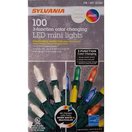Sylvania 100 3 Function Color Changing Led Mini Lights