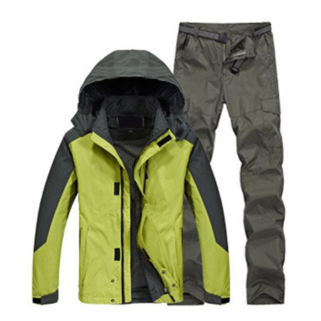 Unisex Soft Shell Jacket Suits Breathable Waterproof Windproof Coat + Pants Outdoor Sportswear Color:Green