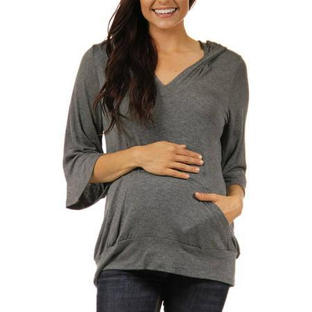 Sleeve Maternity Hoodie - Women's 3/4 Sleeve Slip-on Maternity Hoodie Top