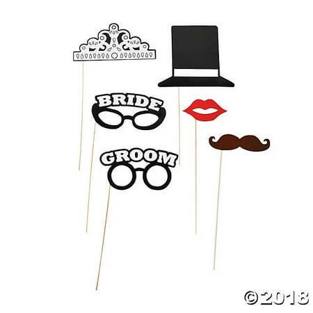 Bride & Groom Photo Stick Props](Halloween Bride And Groom Props)