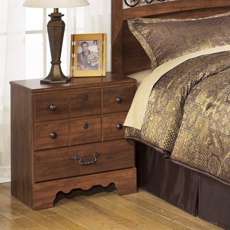 Ashley timberline 2 drawer wood nightstand in warm brown for Meuble ashley circulaire