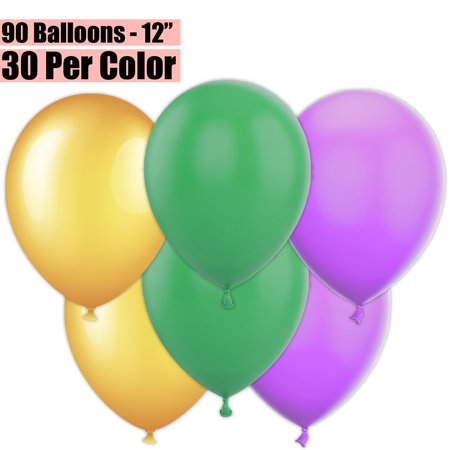 12 Inch Party Balloons, 90 Count - Metallic Gold + Jade Green + Lavender - 30 Per Color. Helium Quality Bulk Latex Balloons In 3 Assorted Colors - For Birthdays, Holidays, Celebrations, and More!!