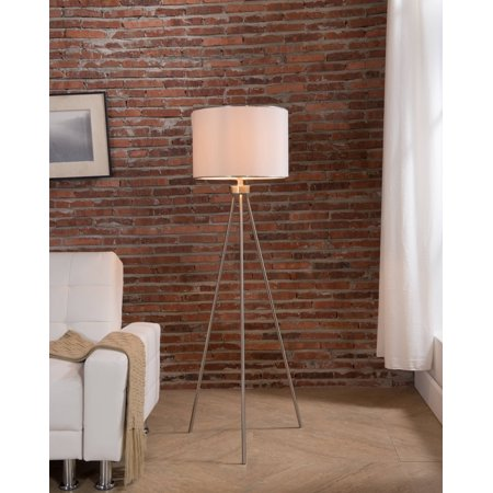 Arden Brush Nickel With White Fabric Drum Shade Contemporary Floor Standing  Lamp (For Bedroom, Living Room)