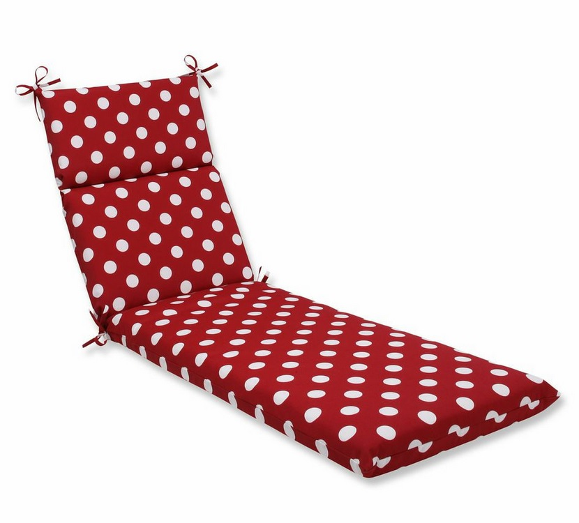 Red & White Polka Dot Outdoor Patio Furniture Chaise Lounge Cushion 72.5""