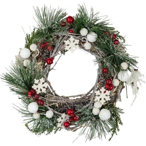 9 8 Snowflakes And Berries Winter Foliage Mini Christmas Wreath Unlit Walmart Com Walmart Com