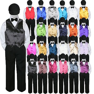 23 Color Vest Black Bow Tie Hat Pants Boys Baby Toddler Formal Suits 5pc Set S-7](Boys Suits Black)
