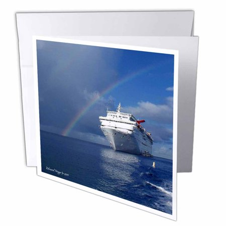 3Drose Cayman Island Rainbow On The Carnival Cruise Insperation  Greeting Cards  6 X 6 Inches  Set Of 12