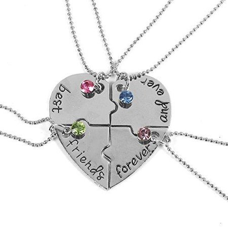 Sexy Sparkles 4 Pcs Best Friends Forever and Ever BFF Necklace Engraved Puzzle Friendship Pendant Necklaces