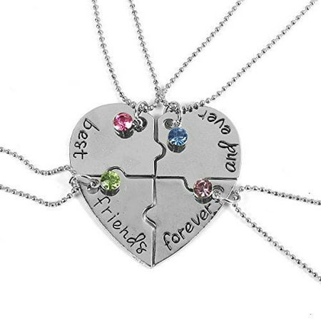 Sexy Sparkles 4 Pcs Best Friends Forever and Ever BFF Necklace Engraved Puzzle Friendship Pendant Necklaces Set