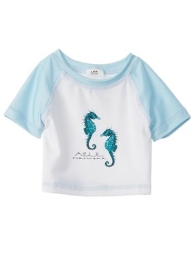 Azul Little Boys White Green Sea Stallion UV Protection Rash Guard
