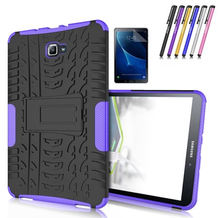 Mignova Heavy Duty Hybrid Protective Case with Kickstand Impact Resistant For Samsung Galaxy Tab A 10.1 Inch SM-T580 SM-T585 + Screen Protector Film and Stylus Pen