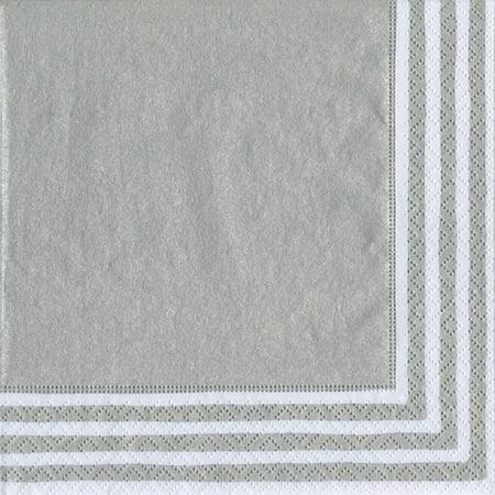 Paper Lunch Napkins 9009L Stripe Border Silver 20pk