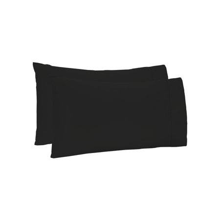 The Great American Store 1800 Series Double Brushed Microfiber King size Pillowcase- Solid Black(Pack of 2, 20