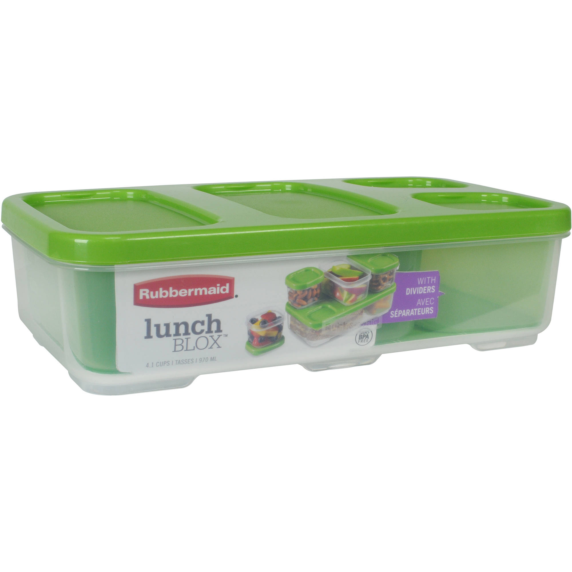 Rubbermaid LunchBlox Entree Food Container with Dividers, Case of 6