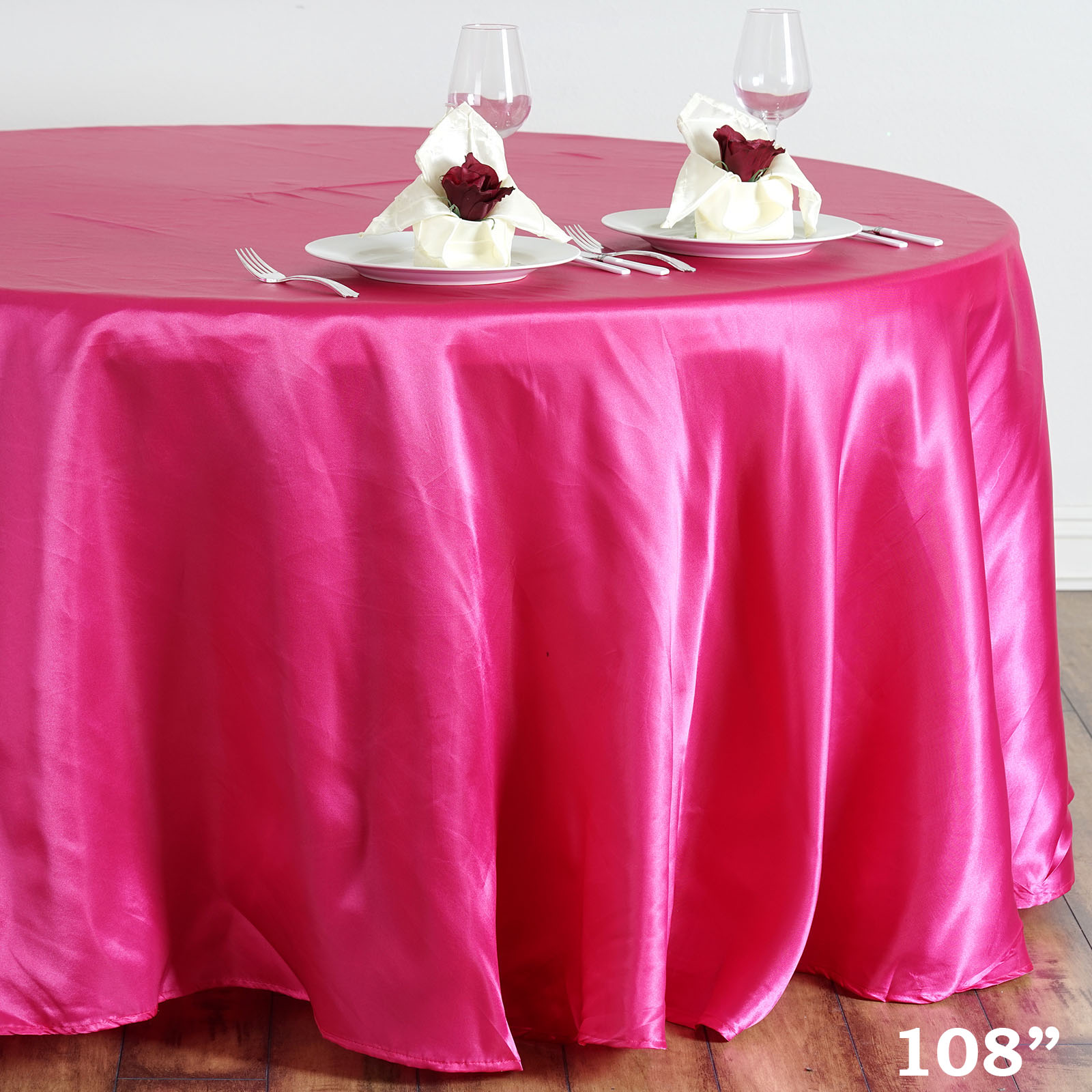 "Efavormart 108"" Round Satin Tablecloth for Kitchen Dining Catering Wedding Birthday Party Decorations Events"