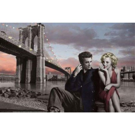 Brooklyn Bridge with Marilyn and Monroe James Dean by Chris Consani 36x24 Art Print Poster   Celebrity Movie Stars Romance Red Dress and Red Lips Icons Hollywood New York City - Party City Monroe Ny
