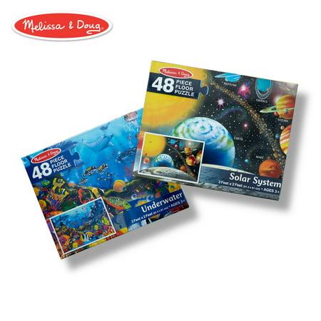 Melissa & Doug Floor Puzzle Bundle - Solar System and Underwater Melissa & Doug Toys Dinosaur Floor Puzzle