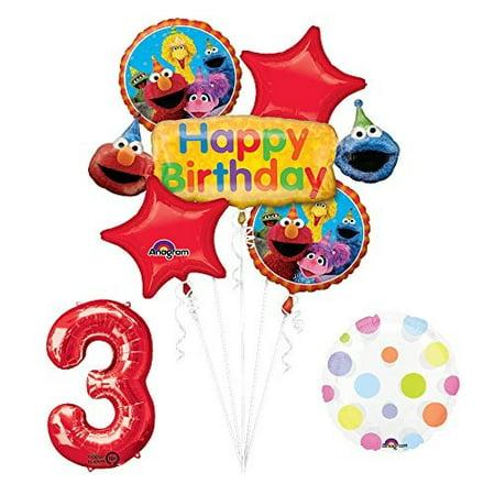 elmo and friends sesame street 3rd birthday supplies decorations balloon kit (Elmo Decorations For 1st Birthday)