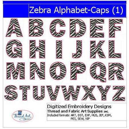 Alphabet Embroidery Design (Threadart Machine Embroidery Designs Zebra Alphabet Caps(1) CD)