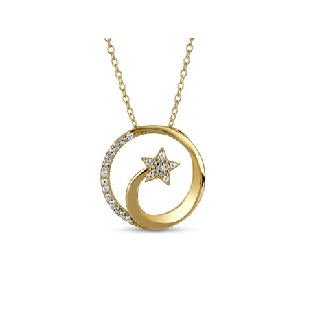 Created White Sapphire 18kt Gold over Sterling Silver Shooting Star Necklace, 18