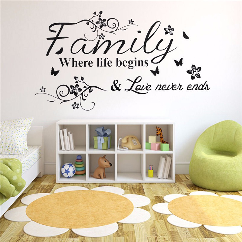 Family DIY Wall Wallpaper Stickers Where Life Begin DIY Butterfly Flower Decor Wall Sticker Wall Paper
