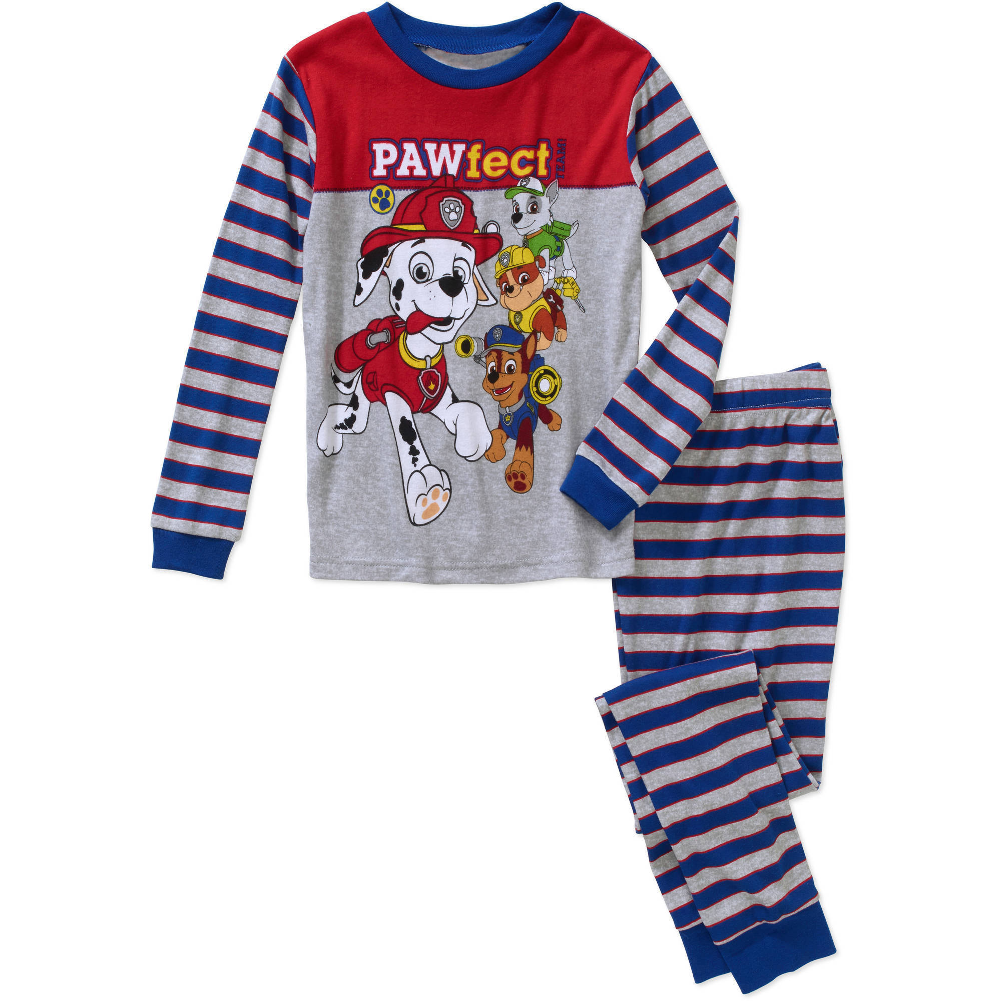Paw Patrol Boys' Licensed 2 Piece Cotton Pajama Sleepwear Set, Available in 4 Characters