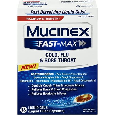 Mucinex rapide-Max liquide Gels - rhume, la grippe et Maux de gorge 16 ct.