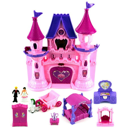 Beauty Princess Castle 22 Toy Doll Playset w/ Lights, Sounds, Prince and Princess Figures, Horse Carriage, Castle Play House, Furniture, Accessories