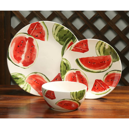 Mainstays Fruit Collection Watermelon 12-Piece Ceramic Dinnerware Set, Walmart Exclusive ()