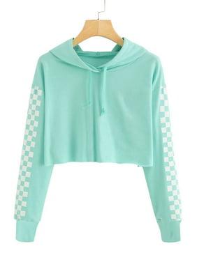 Kids Crop Tops Girls Hoodies Cute Plaid Long Sleeve Fashion Sweatshirts