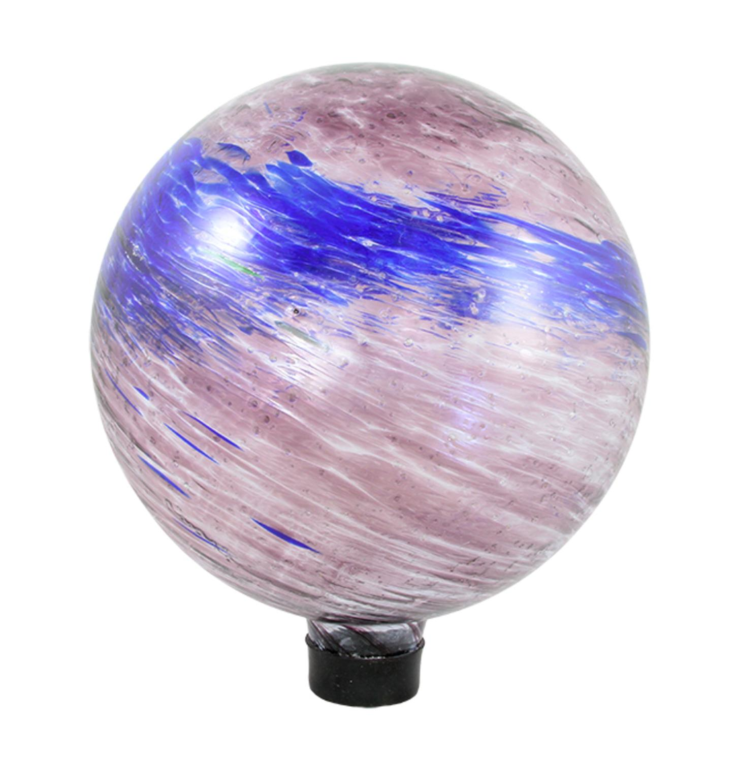 "10"" Dusky Rose Pink and Blue Swirled Glass Outdoor Patio Garden Gazing Ball"