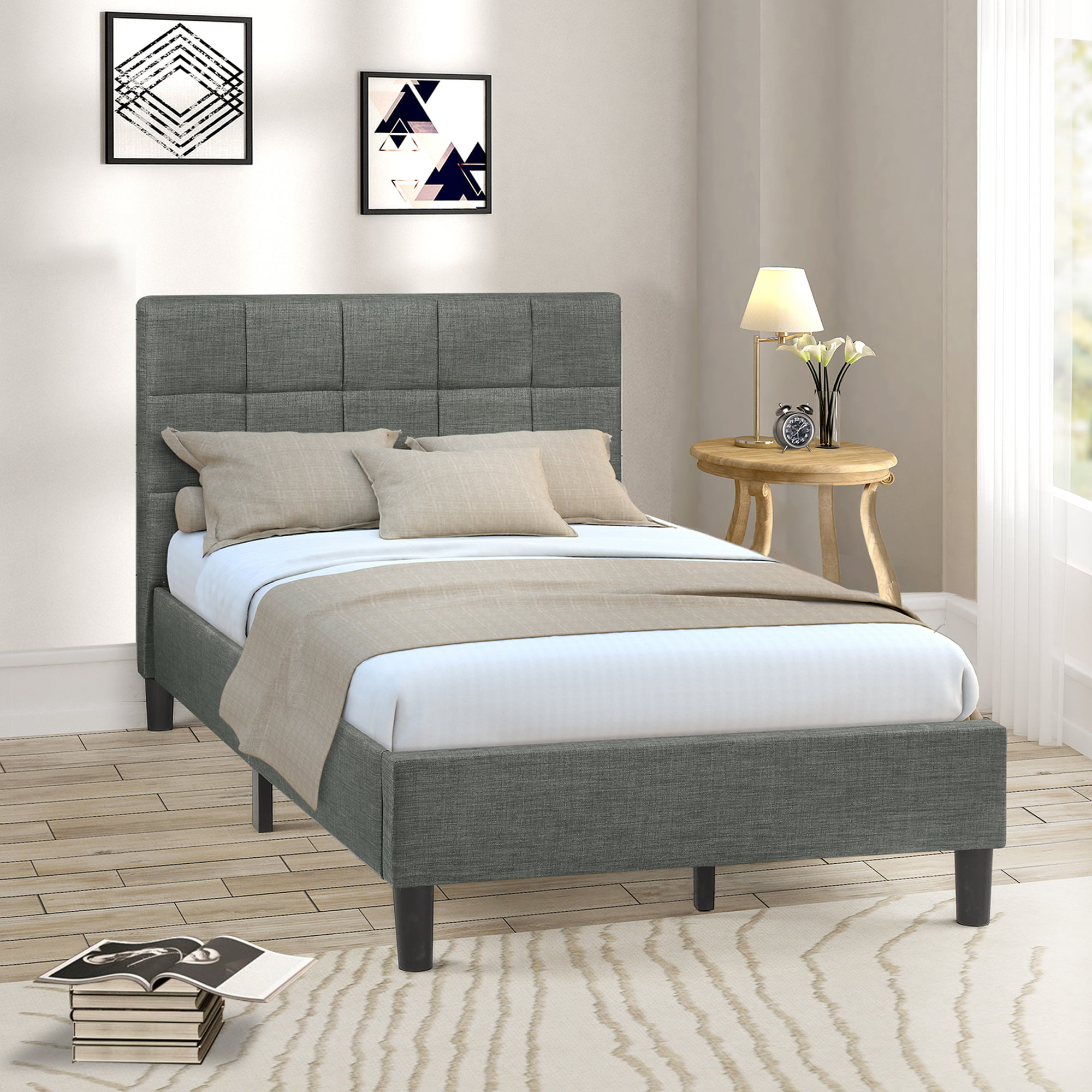 Gray Twin Bed Frame for Kids Adults, Modern Upholstered ...