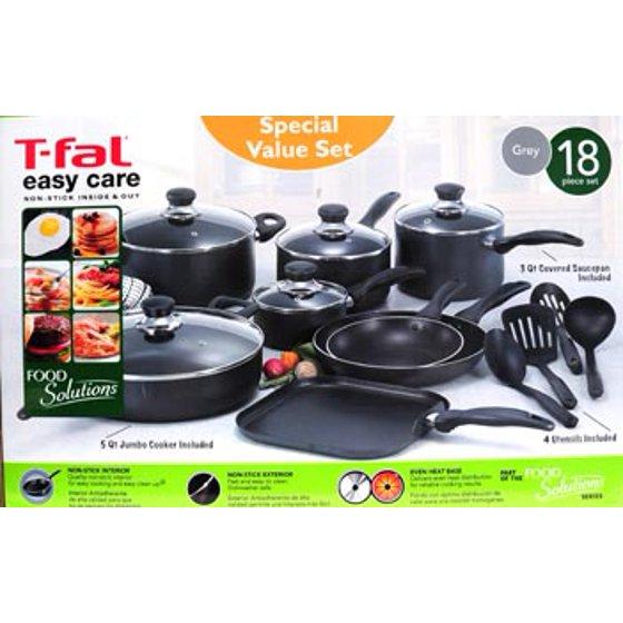 T Fal Basic Non Stick Easy Care 18 Piece Cookware Set Walmartcom