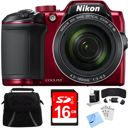 Nikon COOLPIX B500 16MP 40x Optical Zoom Digital Camera w/ Built-in Wi-Fi 16GB Bundle includes Camera, Bag, 16GB Memory Card, Reader, Wallet, Screen Protectors, Cleaning Kit and Beach Camera