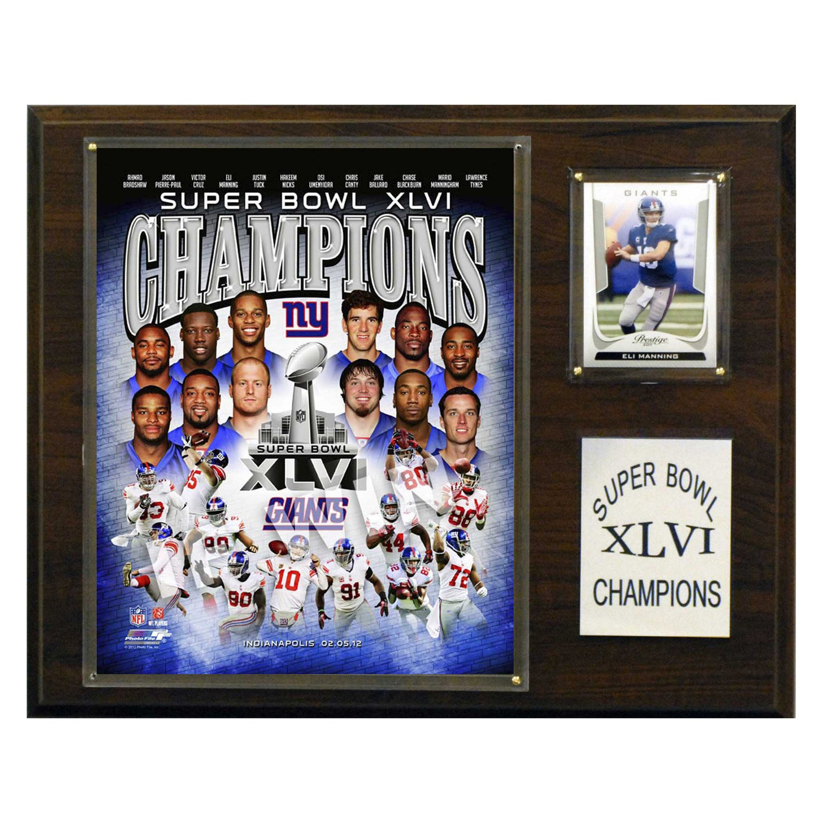 NFL 12 x 15 in. New York Giants 12 x 15 in. Super Bowl XLVI Champions Plaque